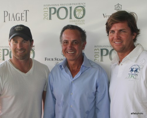 Brandon Phillips, left, Carlos and Luis Escabar at a polo luncheon at the beginning of the 2013 polo season. Photo by Alan Fabricant, www.alfabphoto.com