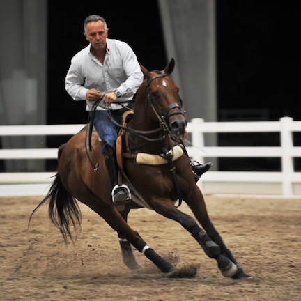 Carlos enjoying a ride on one of his favorites, Valars, the polo-playing stallion he competed and showed. Photo by Ami Polo Photography