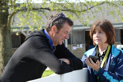 Writer Darlene Ricker spends a few minutes with eventer Mark Todd at the Rolex Kentucky Three-Day Event. Photo by Diana De Rosa