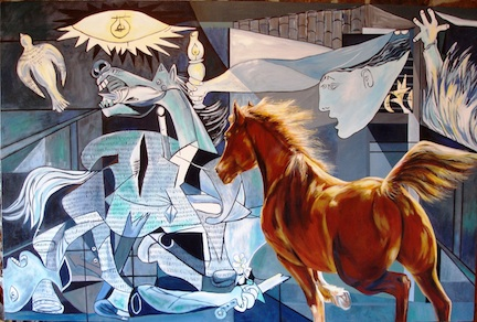 """""""Save the Horse (Homage to Pablo Picasso)"""" – acrylic on gallery wrap canvas – 4 x 6"""
