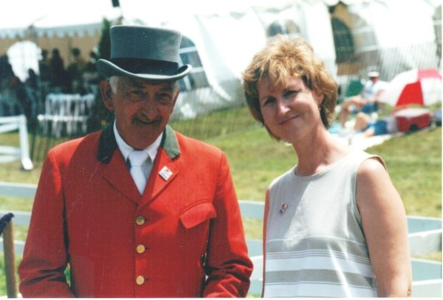 Betty with ringmaster John Perry Photo courtesy of Chagrin Valley PHA Horse Show