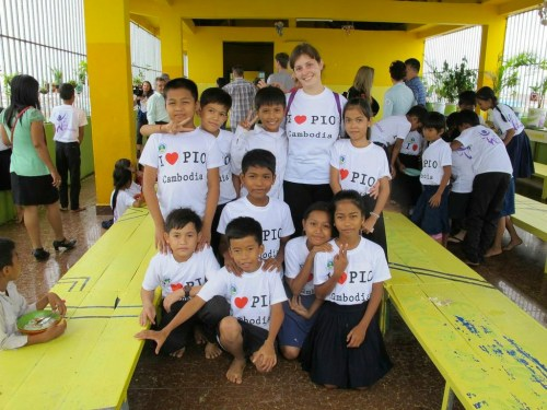 JustWorld ambassador Mia Crocetti visiting People Improvement Organization in Cambodia.