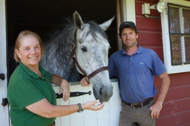 Fernanda and Fitch's Corner manager Nick Meyers with Buzz. (Photo by Rebecca Baldridge)
