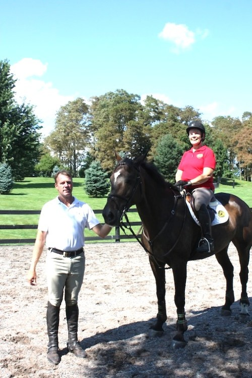 Gold medal Olympian Peter Wylde and Fernanda during her lesson. (Photo by Rebecca Baldridge)