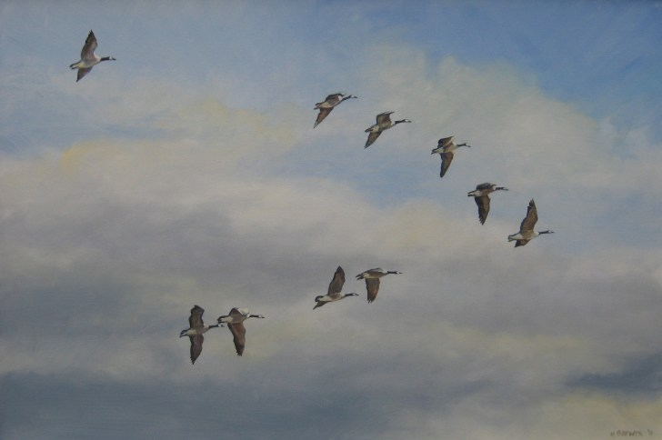 """November Sky"" — the painting Melinda would rescue from a fire. (Photo courtesy of Melinda Brewer)"