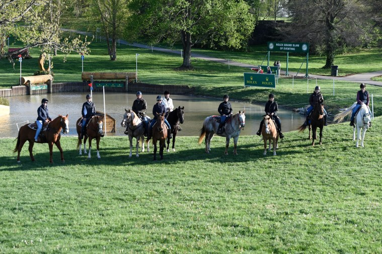 Olympic gold medalist Leslie Law, third from left, escorted the riding writers on a preview tour of the Rolex Kentucky Three-Day Event cross-country course. Sidelines writer Susan Friedland-Smith is second from the left. (Photo courtesy of Rolex)