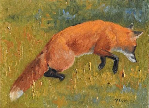 "Mousing Fox, 6' x 8"", Oil on board, Private Collection"