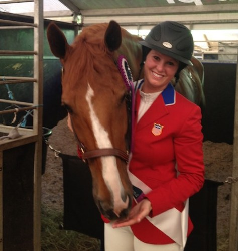 Meagan and Dynamo are all smiles after winning team gold and jumping a double clean for the USA team during their first Nations Cup in Bratislava. Photo courtesy of Meagan Nusz