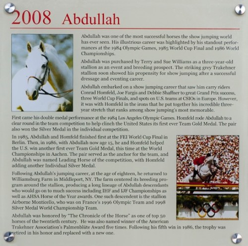 Abdullah's plaque in the U.S. Show Jumping Hall of Fame in Kentucky. Photo by Allen MacMillan/MacMillan Photography