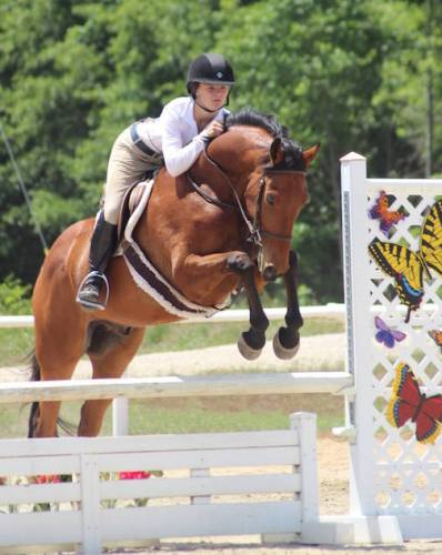 Atom schooling with junior rider Theresa Tolar Photo by Jessica West