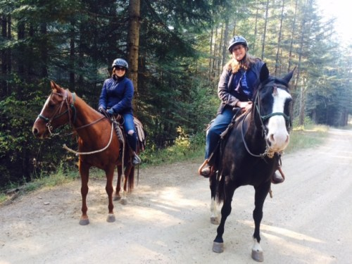 Jan, right, on Oreo and her daughter, Abby Westmark, on Doc. Riding at the Red Horse Mountain Ranch for a week gave Jan the itch to ride as often as possible during 2016.