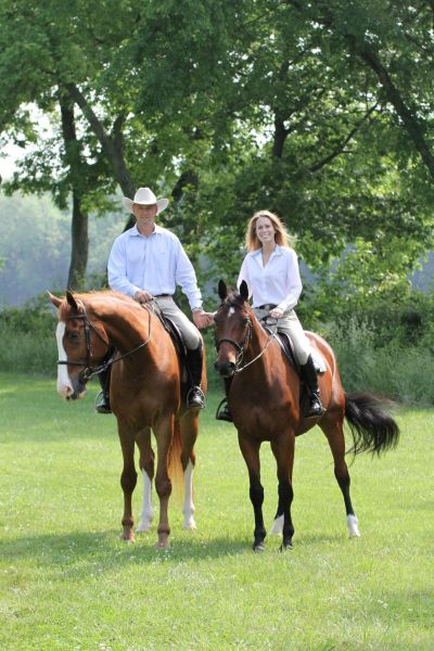 Gavin and Alden enjoying the beautiful Virginia countryside on their Grand Prix horses, Icon and Pimpernel.  Photo by Callie Broaddus