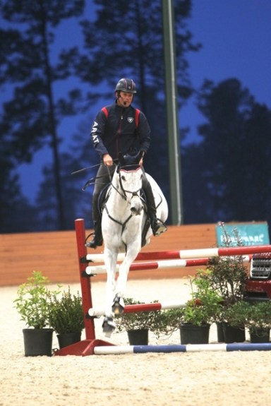 Boyd, on Crackerjacks, demonstrates cross-country jump training in the arena during the USET Master Class in Aiken, South Carolina. Photo by Louisa Davidson