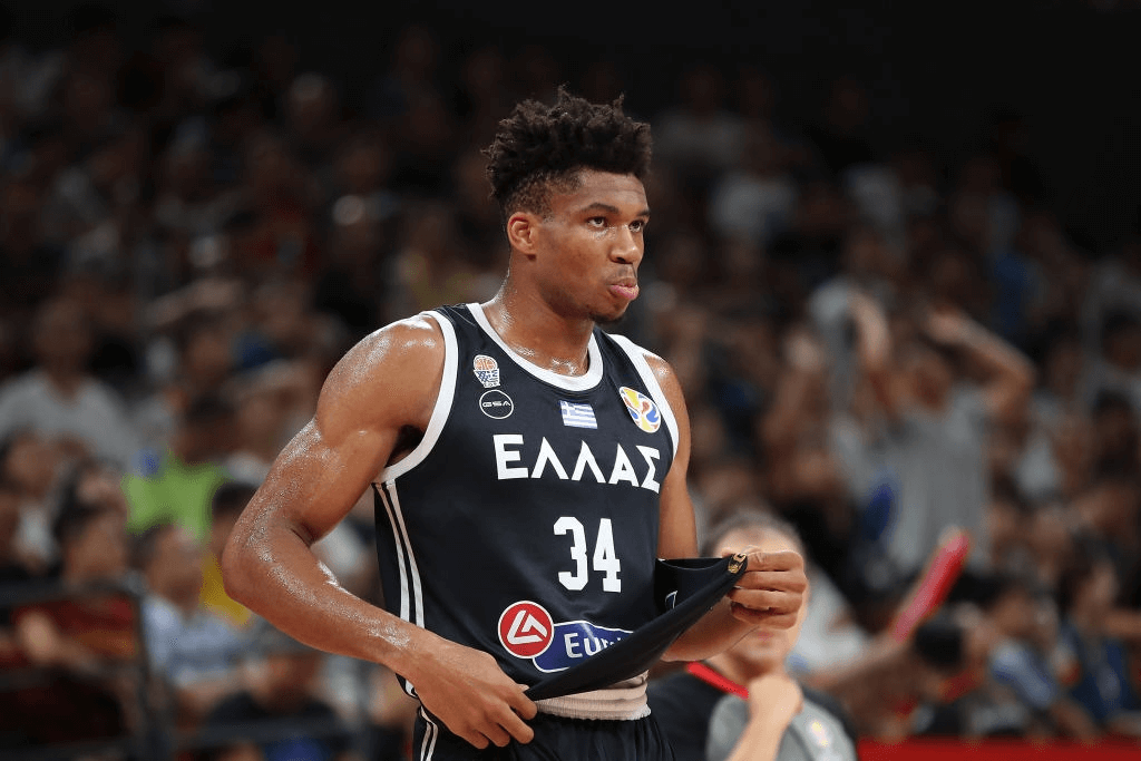 Giannis Antetokounmpo #34 of Greece reacts during FIBA World Cup 2019 Group K match between Czech Republic and Greece at Shenzhen Bay Sports Centre on September 9, 2019 in Shenzhen, China.