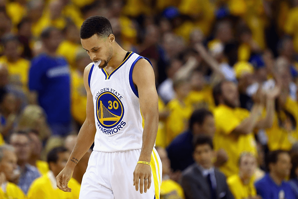 Stephen Curry #30 of the Golden State Warriors reacts during the second half against the Cleveland Cavaliers in Game 7 of the 2016 NBA Finals at ORACLE Arena on June 19, 2016 in Oakland, California.