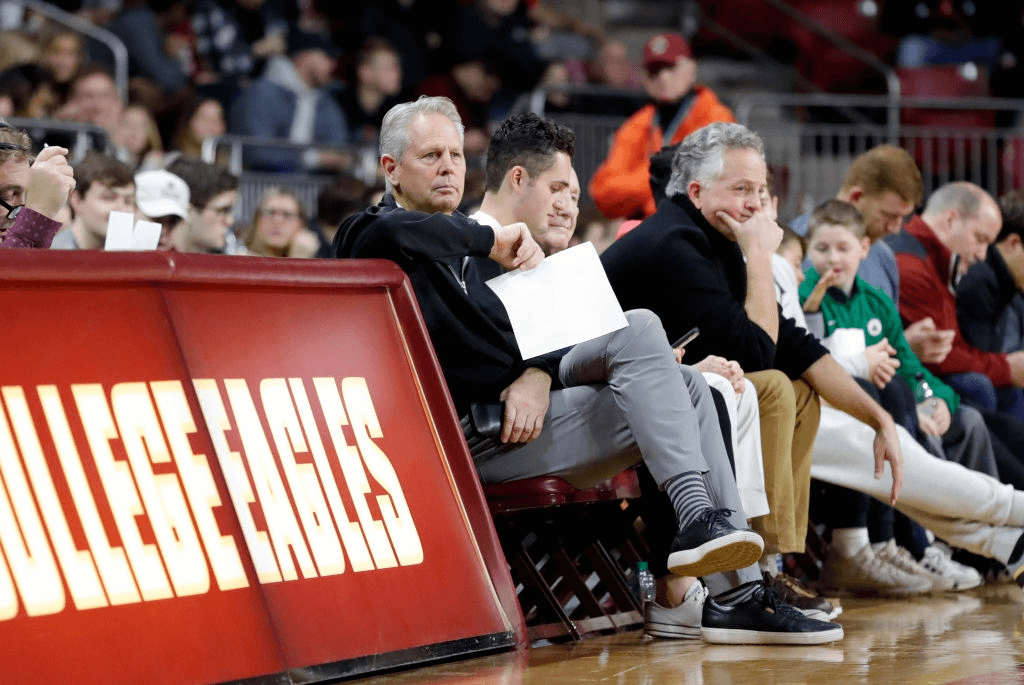Boston Celtics president and general manager Danny Ainge watches during a game between the Boston College Eagles and the Louisville Cardinals on January 29, 2020, at Conte Forum in Chestnut Hill, Massachusetts.