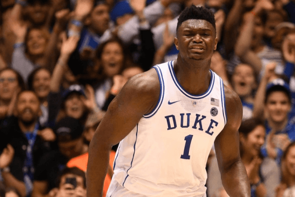 COLUMBIA, SC - MARCH 24: Zion Williamson #1 of the Duke Blue Devils reacts after making a three point shot against the UCF Knights in the second round of the 2019 NCAA Photos via Getty Images Men's Basketball Tournament held at Colonial Life Arena on March 24, 2019 in Columbia, South Carolina. (Photo by Grant Halverson/NCAA Photos via Getty Images)