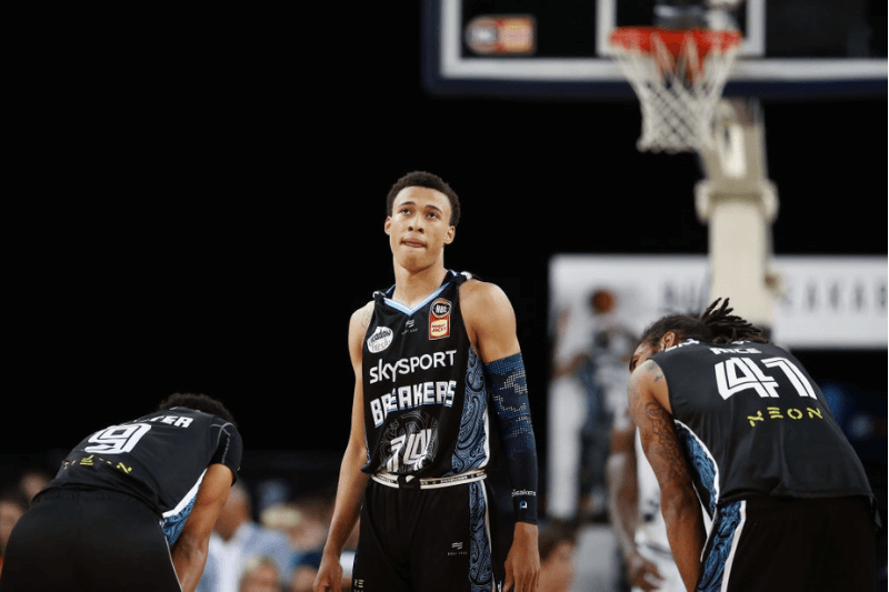 UCKLAND, NEW ZEALAND - NOVEMBER 07: RJ Hampton of the Breakers looks on during the round 6 NBL match between the New Zealand Breakers and Melbourne United at Spark Arena on November 07, 2019 in Auckland, New Zealand.