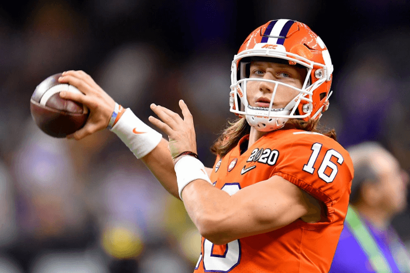 Trevor Lawrence #16 of the Clemson Tigers warms up before the College Football Playoff National Championship game against the LSU Tigers at the Mercedes Benz Superdome on January 13, 2020 in New Orleans, Louisiana. The LSU Tigers topped the Clemson Tigers, 42-25.
