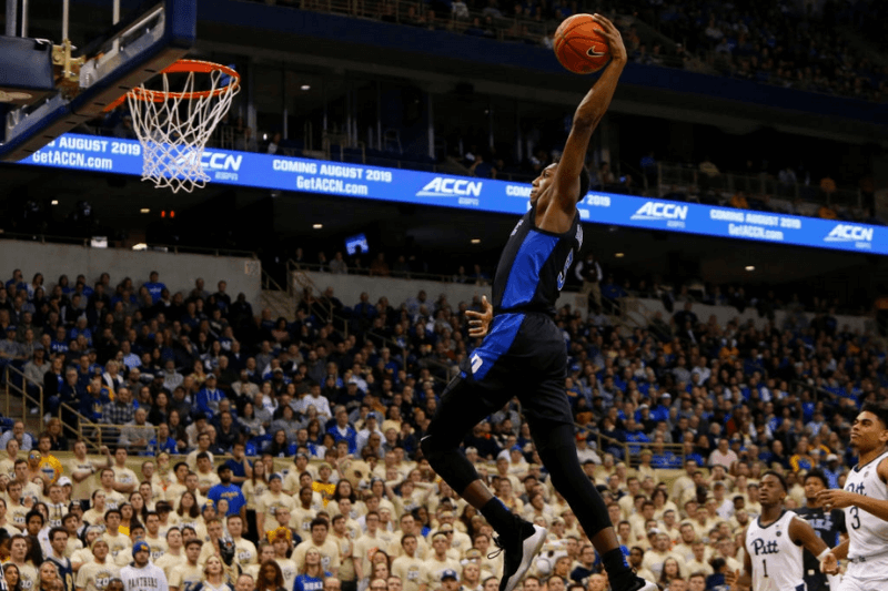 PITTSBURGH, PA - JANUARY 22: RJ Barrett #5 of the Duke Blue Devils dunks against the Pittsburgh Panthers at Petersen Events Center on January 22, 2019 in Pittsburgh, Pennsylvania