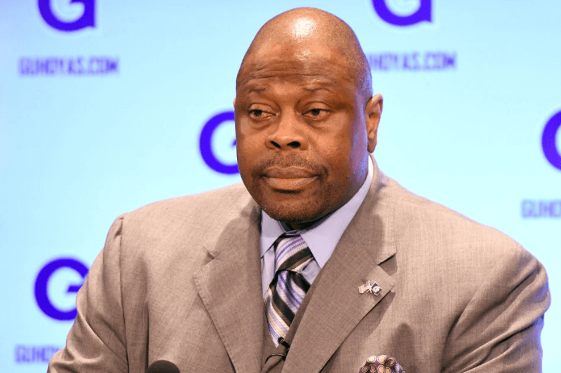 WASHINGTON, DC - APRIL 05: NBA Hall of Famer and former Georgetown Hoyas player Patrick Ewing is introduced as the Georgetown Hoyas' new head basketball coach at John Thompson Jr. Athletic Center on April 5, 2017 in Washington, DC.