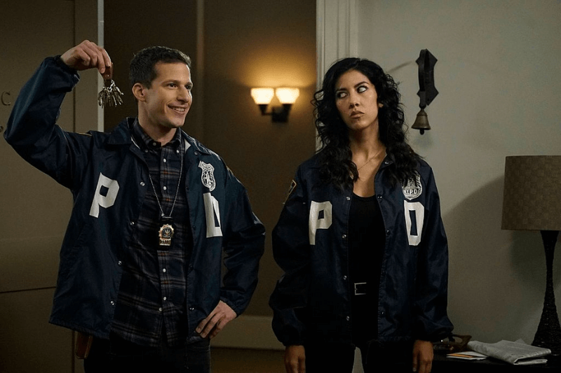 BROOKLYN NINE-NINE: L-R: Andy Samberg and Stephanie Beatriz in the The Swedes episode of BROOKLYN NINE-NINE airing Sunday, Dec. 6 (8:30-9:00 PM ET/PT) on FOX.