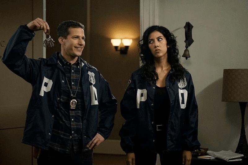 BROOKLYN NINE-NINE: L-R: Andy Samberg and Stephanie Beatriz in the The Swedes episode of BROOKLYN NINE-NINE airing Sunday, Dec. 6 (8:30-9:00 PM ET/PT) on FOX.