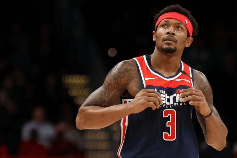 Mar 10, 2020; Washington, District of Columbia, USA; Washington Wizards guard Bradley Beal (3) looks at the scoreboard against the New York Knicks in the second quarter at Capital One Arena. Mandatory Credit: Geoff Burke-USA TODAY Sports