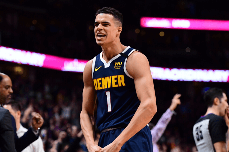 Jan 30, 2020; Denver, Colorado, USA; Denver Nuggets forward Michael Porter Jr. (1) reacts to his three point basket in the second half against the Utah Jazz at the Pepsi Center.
