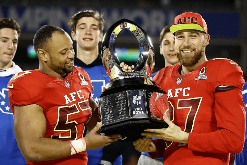 ORLANDO, FL - JANUARY 29: Lorenzo Alexander #57 and Travis Kelce #87 pose with the tophy after the AFC defeated the NFC 20 to 13 during the NFL Pro Bowl at the Orlando Citrus Bowl on January 29, 2017 in Orlando, Florida.