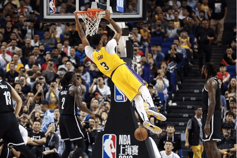 SHANGHAI, CHINA - OCTOBER 10: Anthony Davis #3 of the Los Angeles Lakers shoots during a preseason game against the Brooklyn Nets as part of 2019 NBA Global Games China at Mercedes-Benz Arena on October 10, 2019 in Shanghai, China.