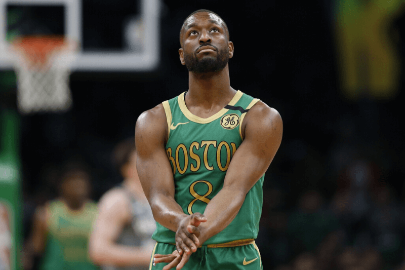 Mar 3, 2020; Boston, Massachusetts, USA; Boston Celtics point guard Kemba Walker (8) reacts during the second half against the Brooklyn Nets at TD Garden.