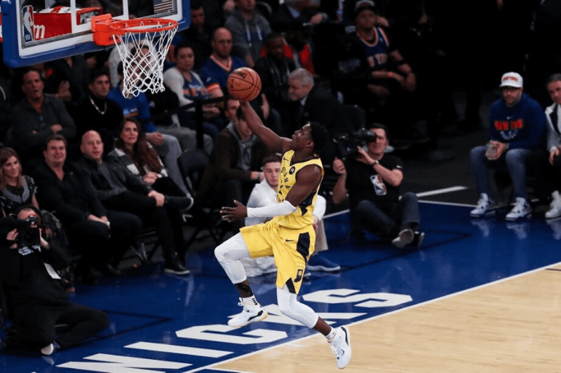 NEW YORK, USA - JANUARY 11: Victor Oladipo (4) of Indiana Pacers in action during the NBA match between Indiana Pacers and New York Knicks at Madison Square Garden in New York, United States on January 11, 2019.
