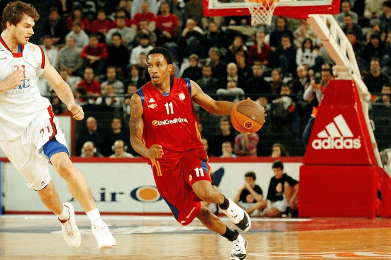 ROME - JANUARY 8: Brandon Jennings, #11 of Lottomatica Roma in action during the Euroleague Basketball Game 9 match between Lottomatica Roma v Tau Ceramica on January 8, 2009 at the Palalottomatica in Rome, Italy.