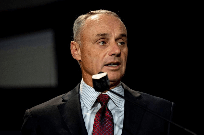 BOSTON, MA - DECEMBER 10: Major League Baseball Commissioner Rob Manfred speaks during the 2019 Major League Baseball Winter Meetings on December 10, 2019 in San Diego, California.