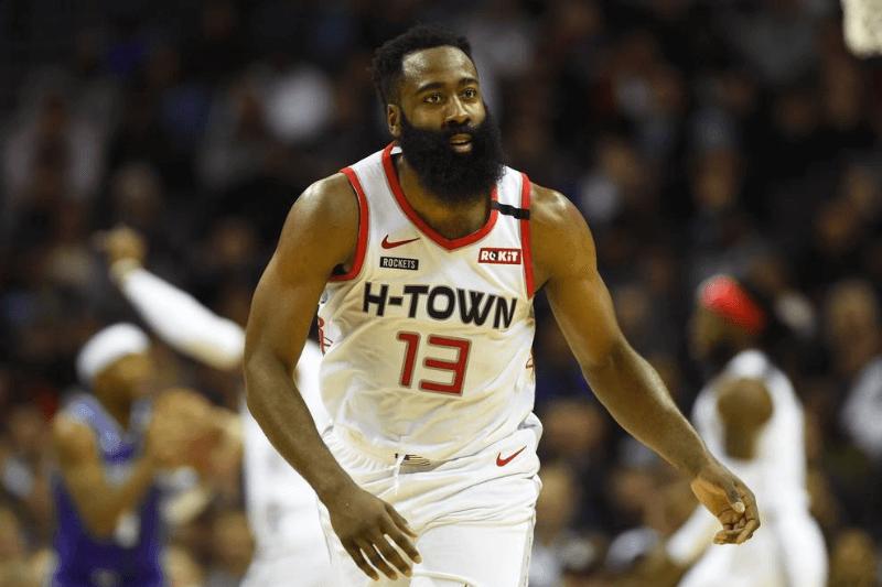 Mar 7, 2020; Charlotte, North Carolina, USA; Houston Rockets guard James Harden (13) reacts in the second half at Spectrum Center.
