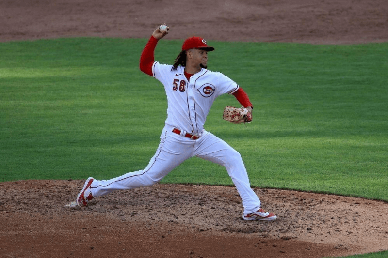 CINCINNATI, OHIO - JULY 25: Luis Castillo #58 of the Cincinnati Reds throws a pitch for his 500th career strikeout in the sixth inning against the Detroit Tigers at Great American Ball Park on July 25, 2020 in Cincinnati, Ohio