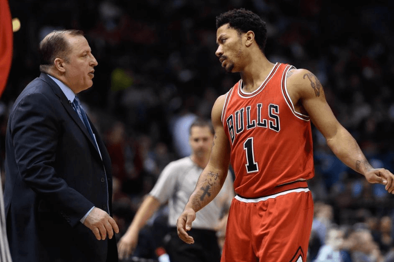 Apr 25, 2015; Milwaukee, WI, USA; Chicago Bulls guard Derrick Rose (1) talks to head coach Tom Thibodeau in the second quarter during the game against the Milwaukee Bucks in game four of the first round of the NBA Playoffs at BMO Harris Bradley Center.