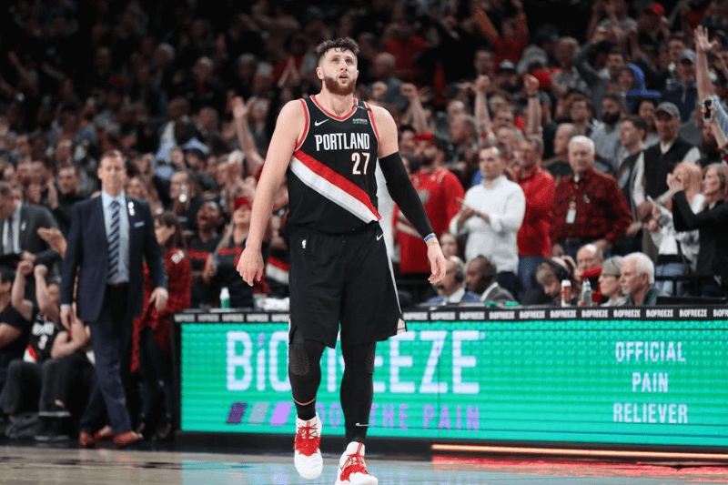 Mar 23, 2019; Portland, OR, USA; Portland Trail Blazers center Jusuf Nurkic (27) takes a deep breath after Portland defeated Detroit Pistons 117-112 at Moda Center.