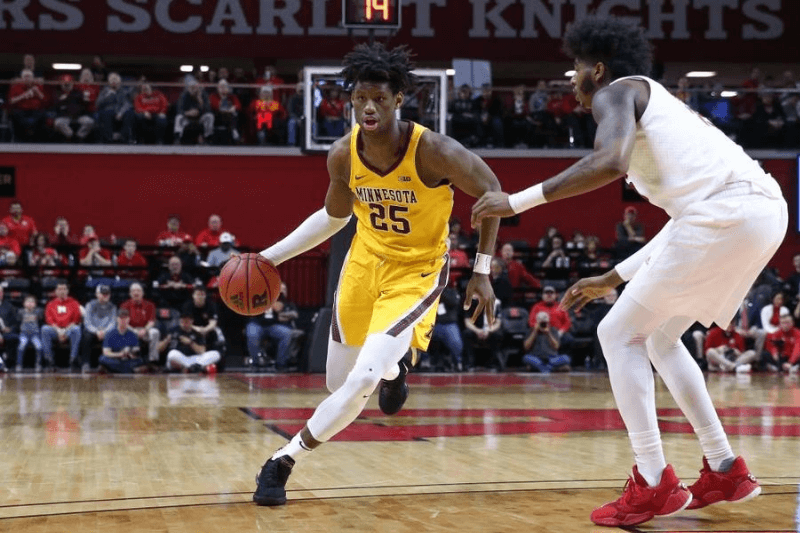 PISCATAWAY, NJ - JANUARY 19: Minnesota Golden Gophers center Daniel Oturu (25) during the college basketball game between the Rutgers Scarlet Knights and the Minnesota Golden Gophers on January 19, 2020 at the Louis Brown Athletic Center in Piscataway, NJ.