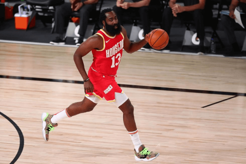 Aug 12, 2020; Lake Buena Vista, Florida, USA; Houston Rockets guard James Harden (13) in the first quarter of a NBA basketball game against the Indiana Pacers at AdventHealth Arena.