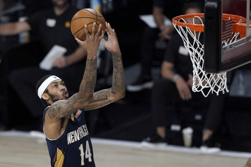 July 30, 2020; Lake Buena Vista, USA; New Orleans Pelicans player Brandon Ingram heads to the basket during the first half of an NBA basketball game against the Utah Jazz.