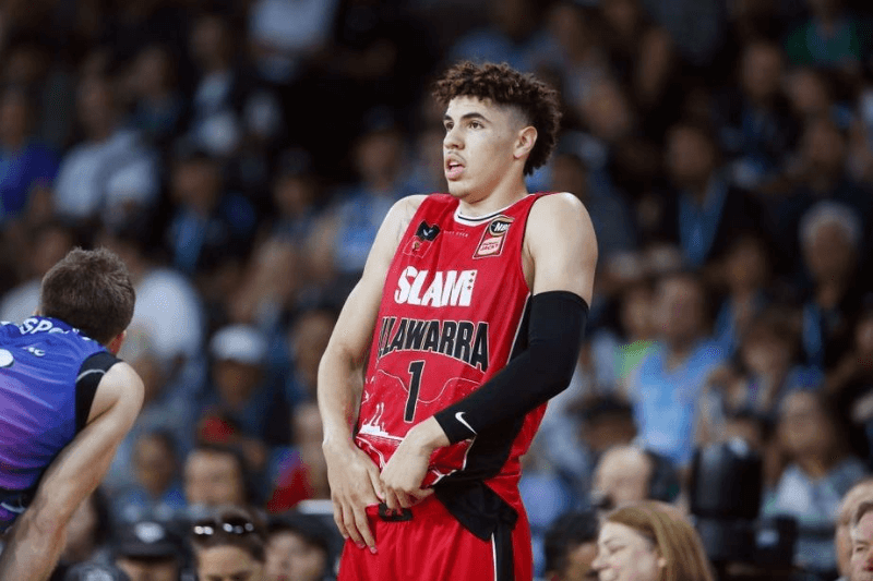 AUCKLAND, NEW ZEALAND - NOVEMBER 30: LaMelo Ball of the Hawks reacts during the round 9 NBL match between the New Zealand Breakers and the Illawarra Hawks at Spark Arena on November 30, 2019 in Auckland, New Zealand.