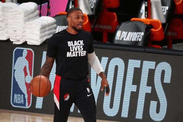 Aug 24, 2020; Lake Buena Vista, Florida, USA; Portland Trail Blazers guard Damian Lillard (0) before game four of the first round of the 2020 NBA Playoffs against the Los Angeles Lakers at AdventHealth Arena.