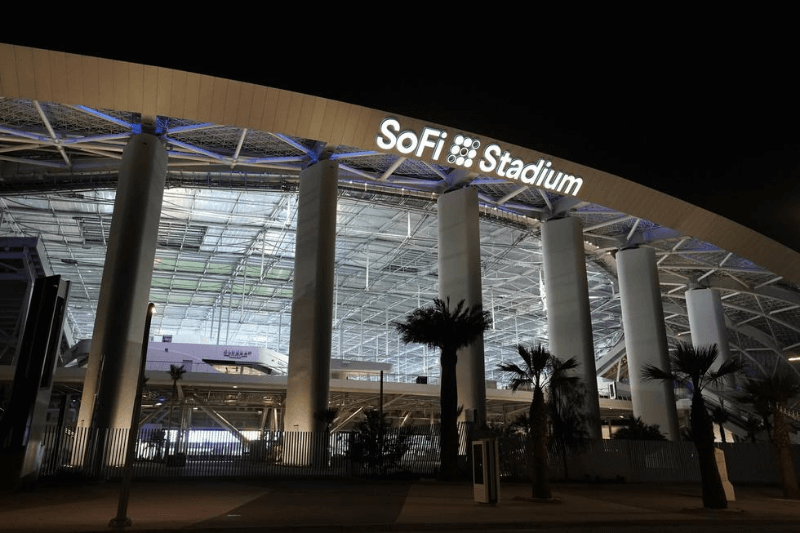 Aug 22, 2020; Inglewood California, USA; A general overall view of SoFi Stadium. The venue, the home of the Los Angeles Rams and the Los Angeles Chargers, will be the site of Super Bowl 56 in 2022 and the 2028 Olympics opening and closing ceremonies.