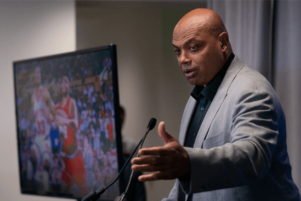 Sep 13, 2019; Philadelphia, PA, USA; Philadelphia 76ers great Charles Barkley speaks at the podium during the unveiling of a statue honoring him in a ceremony at the Philadelphia 76ers Training Complex. Mandatory Credit: Bill Streicher-USA TODAY Sports
