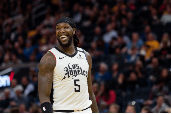 Mar 10, 2020; San Francisco, California, USA; LA Clippers forward Montrezl Harrell (5) reacts after a foul is called against the Golden State Warriors in the second half at Chase Center. Mandatory Credit: John Hefti-USA TODAY Sports