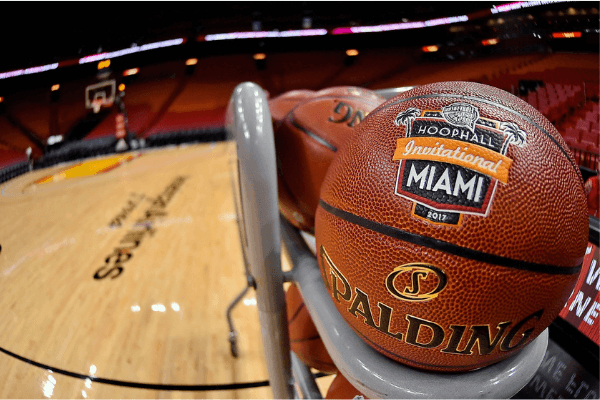 Nov 28, 2017; Miami, FL, USA; A general view prior to the games of the Hoophall Miami Showcase at at AmericanAirlines Arena. Mandatory Credit: Jasen Vinlove-USA TODAY Sports