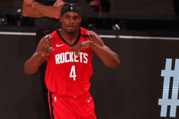 Aug 20, 2020; Lake Buena Vista, Florida, USA; Houston Rockets forward Danuel House Jr. (4) reacts after a play against the Oklahoma City Thunder during the first quarter in an NBA basketball first round playoff game of the 2020 NBA playoffs at AdventHealth Arena. Mandatory Credit: Kim Klement-USA TODAY Sports