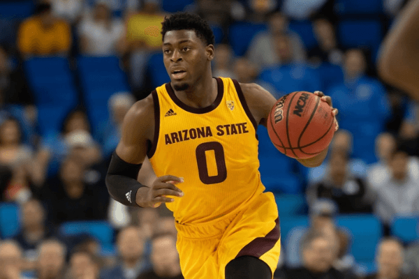 LOS ANGELES, CA - JANUARY 24: Arizona State Sun Devils guard Luguentz Dort (0) moves the ball up the court during the game between the Arizona State Sun Devils and the UCLA Bruins on January 24, 2019, at Pauley Pavilion in Los Angeles, CA.